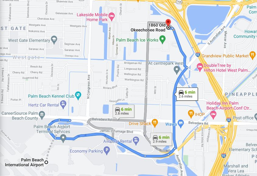directions from palm beach international airport